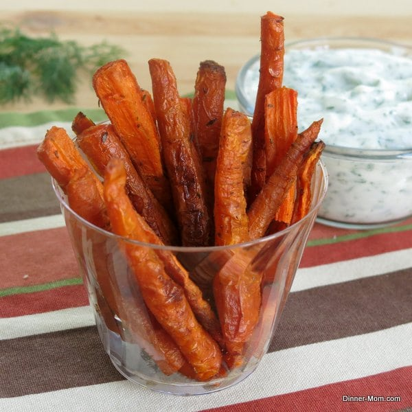 Baked Carrot Fries and Yogurt Dill Dipping Sauce