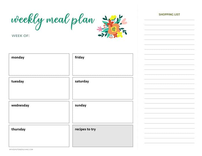 printable weekly meal planner with shopping list