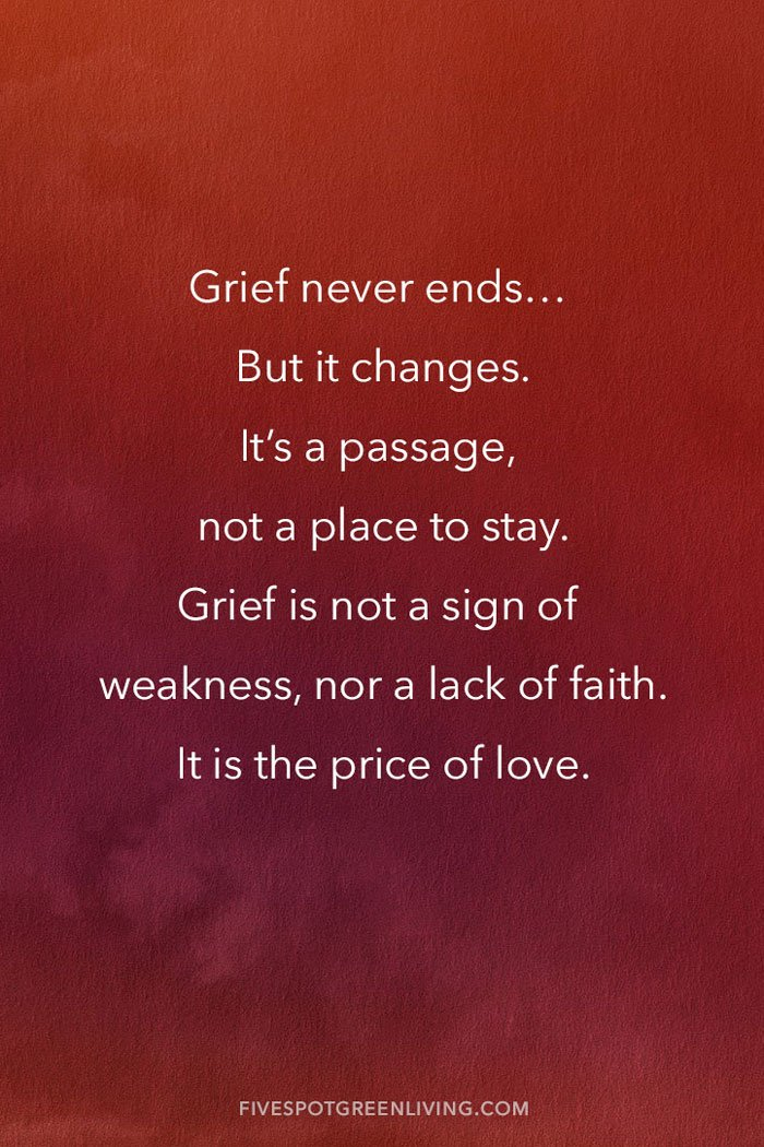 Grief never ends...But it changes. It's a passage, not a place to stay. Grief is not a sign of weakness, nor a lack of faith... It is the price of love.