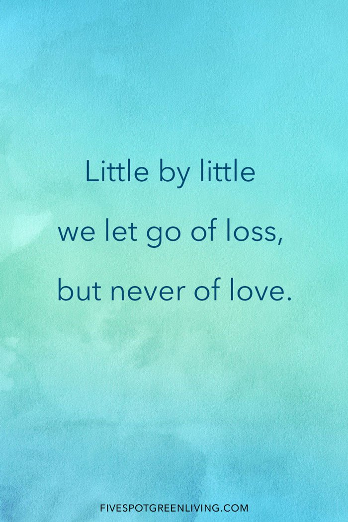 Little by little we let go of loss but never of love.