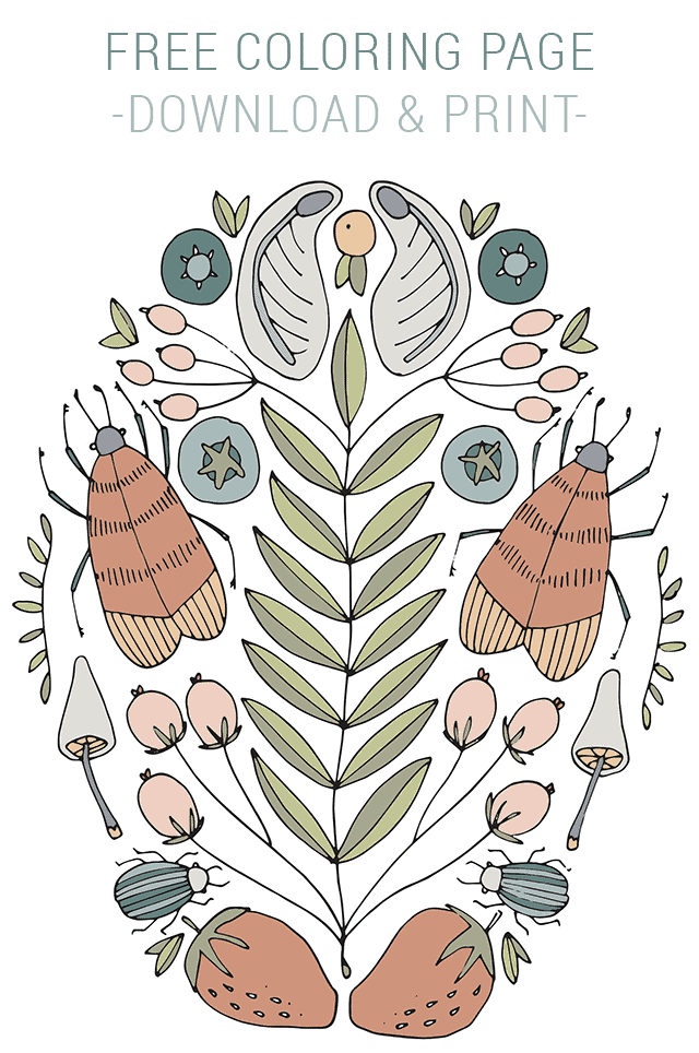Free Coloring Page – Nature Doodles
