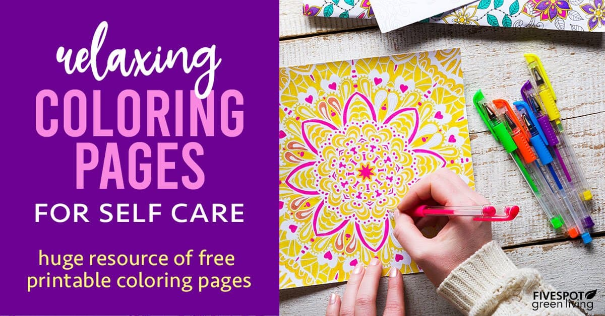 relaxation coloring pages for self care kits