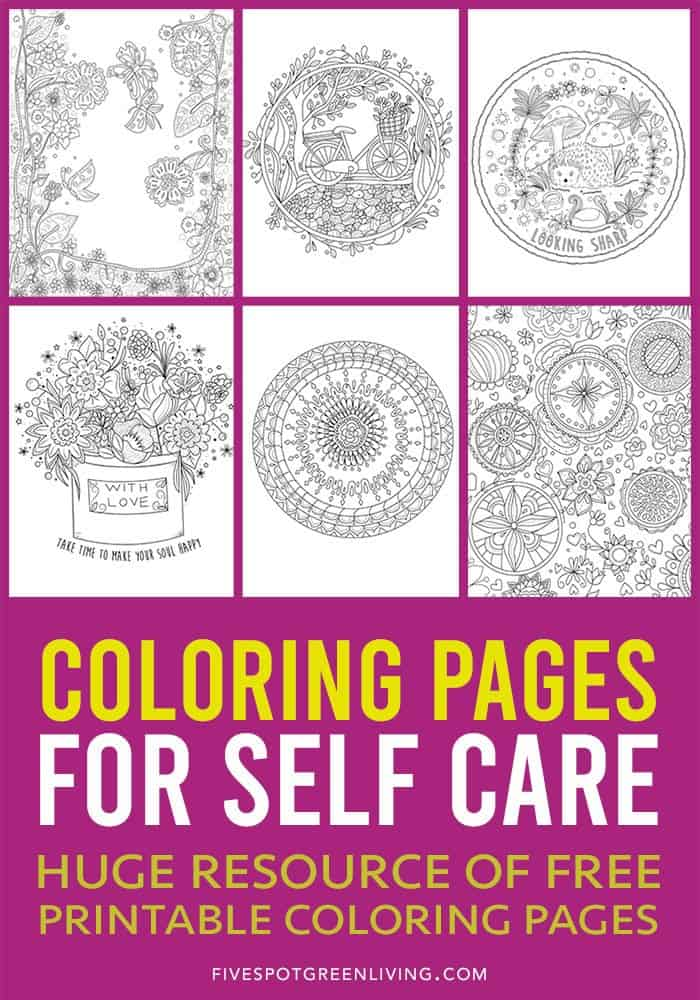 Coloring pages for self care