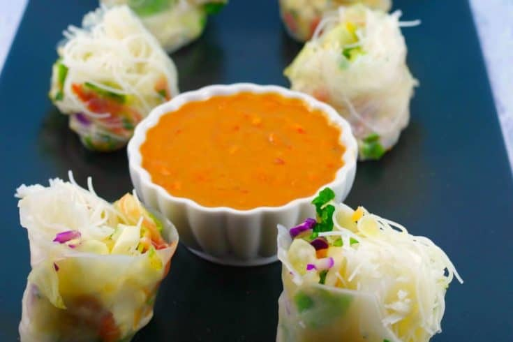 Easy & Healthy Tuscan Melon Summer Salad Rolls with Zesty Peanut Dipping Sauce