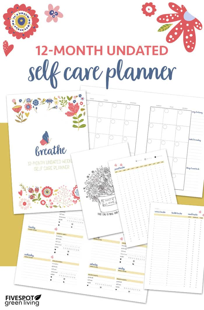 12 Month Undated Weekly Self Care Planner