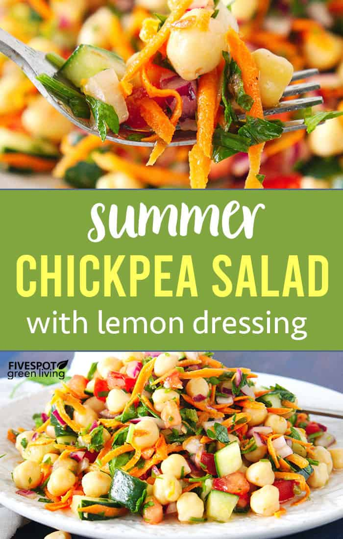 summer chickpea salad with lemon dressing