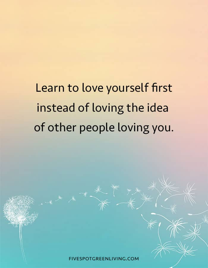 Learn to love yourself first instead of loving the idea of other people loving you quote